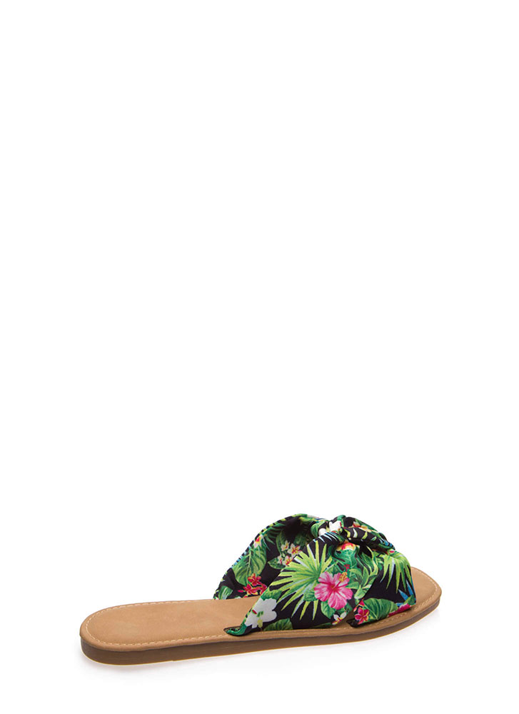 Knot Ready Tropical Fabric Slide Sandals BLACK