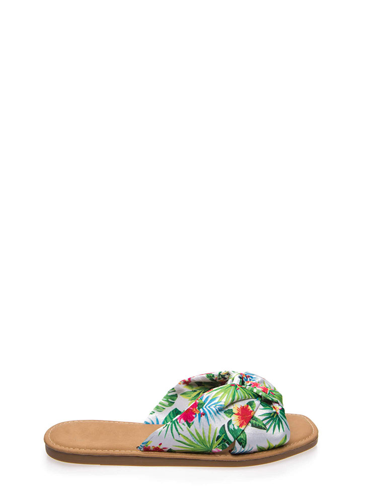 Knot Ready Tropical Fabric Slide Sandals WHITE