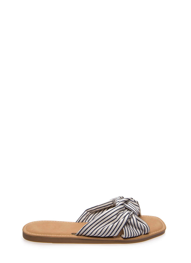 Knot Ready Striped Fabric Slide Sandals NAVYSTRIPE