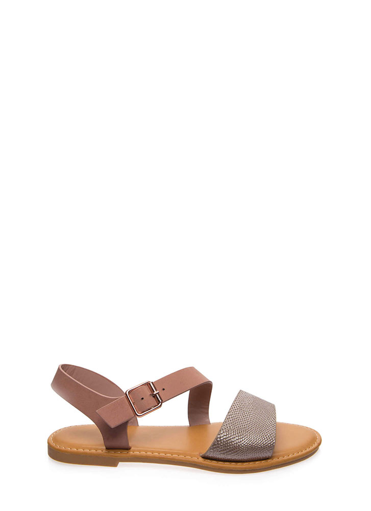 Animal Crossing Strappy Reptile Sandals ROSEGOLD