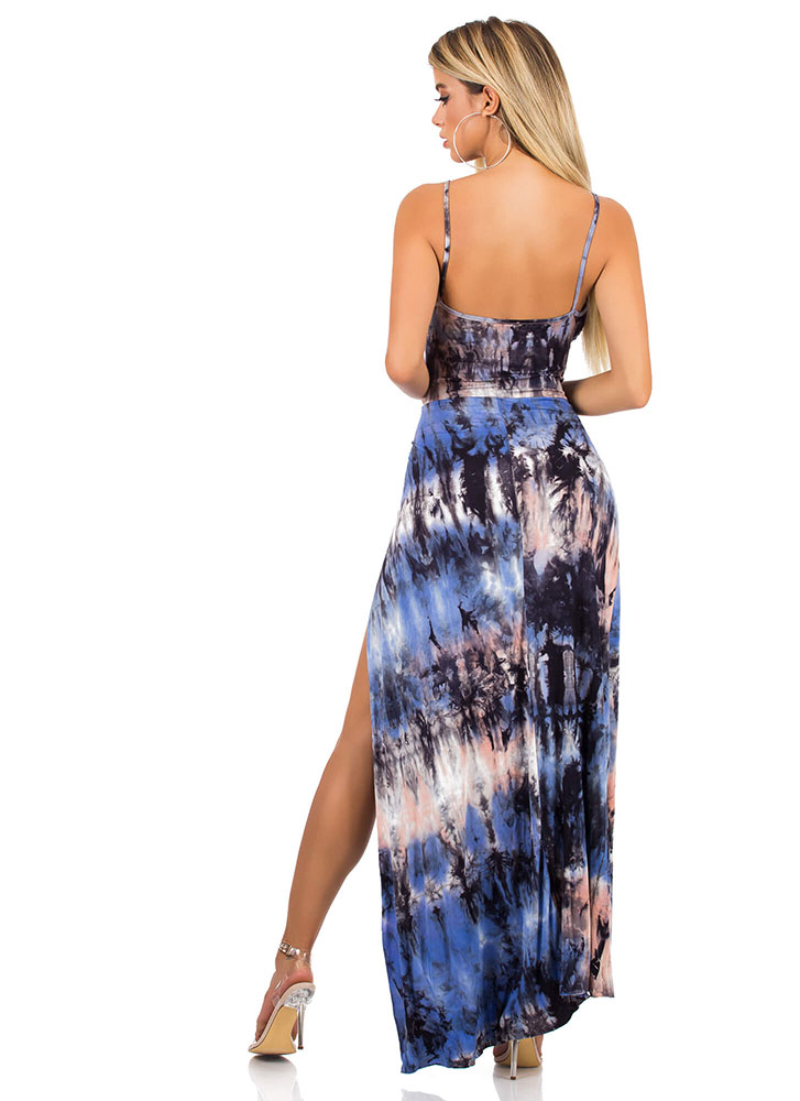 Tied And True Cut-Out Tie-Dye Maxi BLUEMULTI