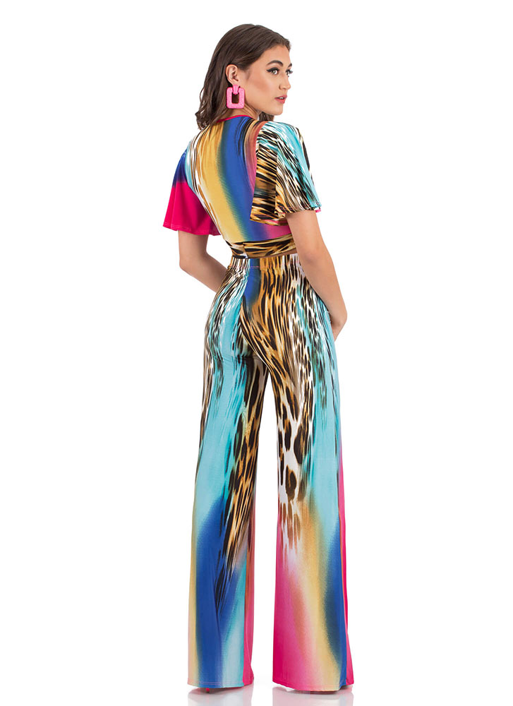 Living Leopard Tied Two-Piece Jumpsuit MULTI (You Saved $27)