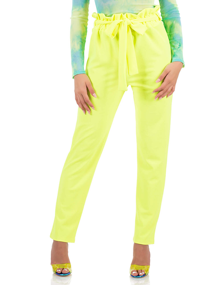 Chic Look Tied Paperbag Waist Trousers NEONLIME