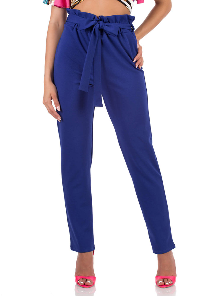 Chic Look Tied Paperbag Waist Trousers ROYAL
