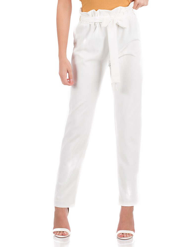 Chic Look Tied Paperbag Waist Trousers WHITE