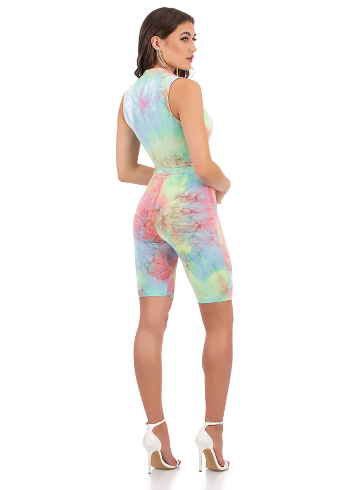 Candy Pop Plunging Tie-Dye Romper MULTI (You Saved $24)