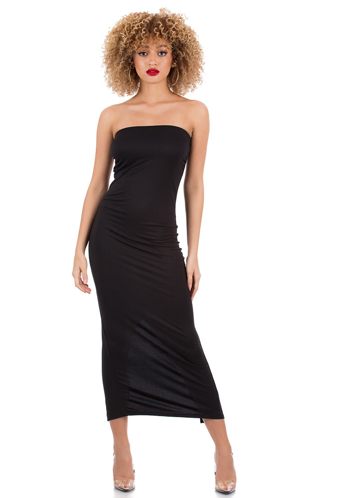 It's Tube Perfect Strapless Maxi Dress BLACK