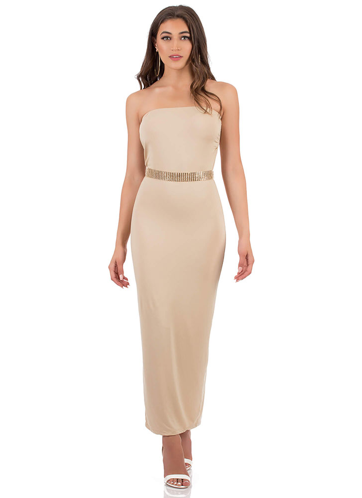 It's Tube Perfect Strapless Maxi Dress LATTE