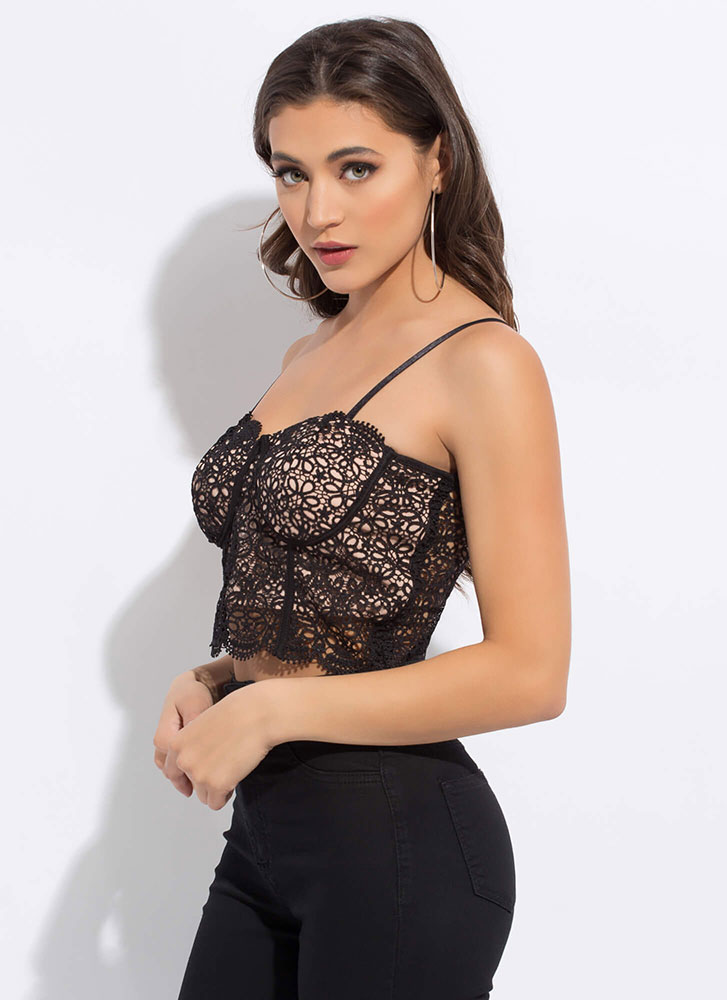 Intricate Work Lacy Crochet Bustier Top BLACK (You Saved $11)