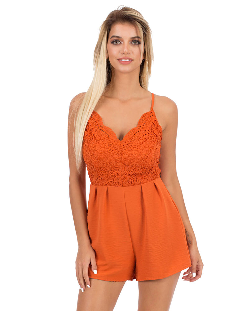 The Girl In Lace Pleated Romper LTRUST