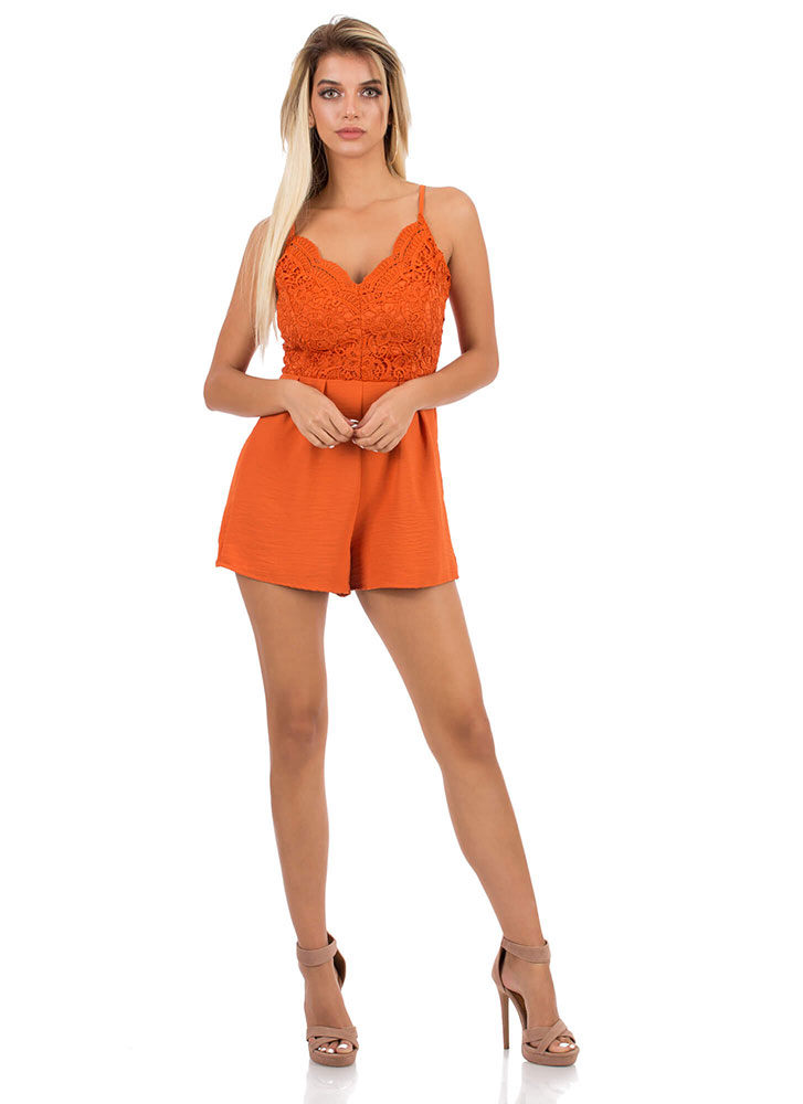 The Girl In Lace Pleated Romper LTRUST (You Saved $16)