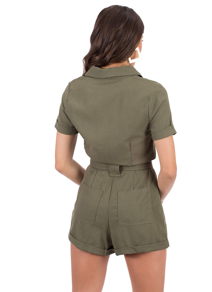 Right Collar Tied Zip-Front Romper OLIVE (You Saved $15)