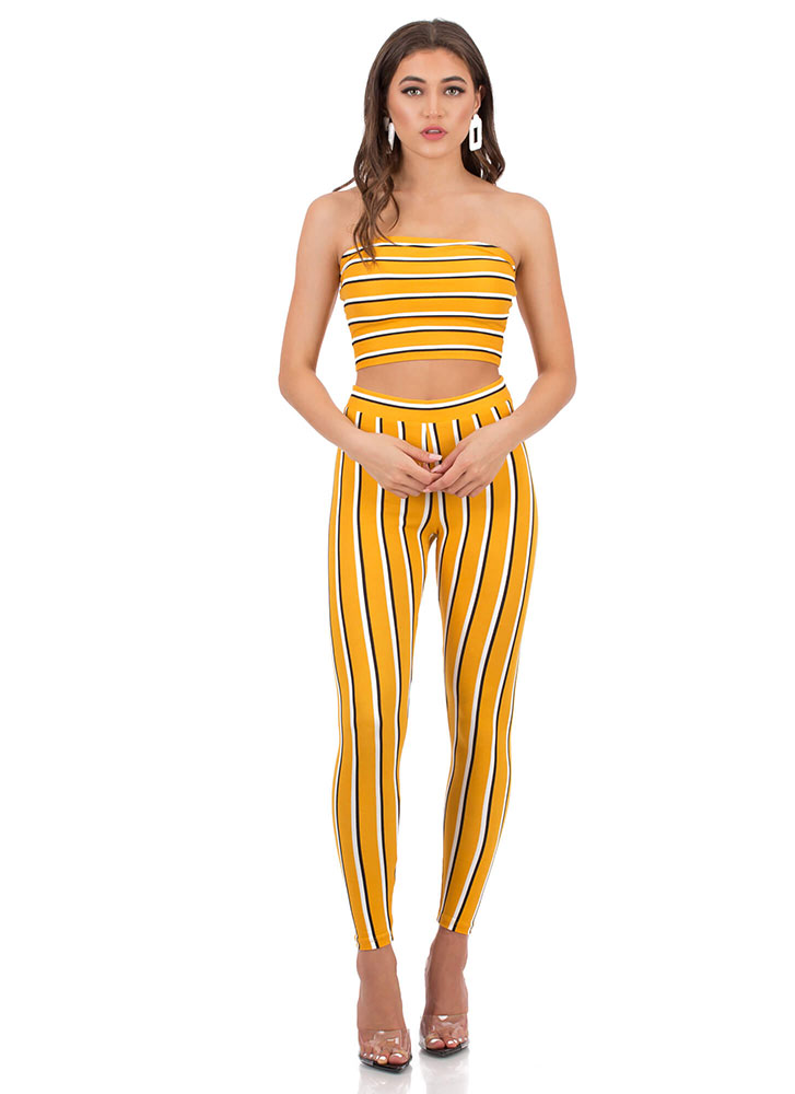 Between The Lines Pinstriped Leggings MUSTARD (You Saved $8)