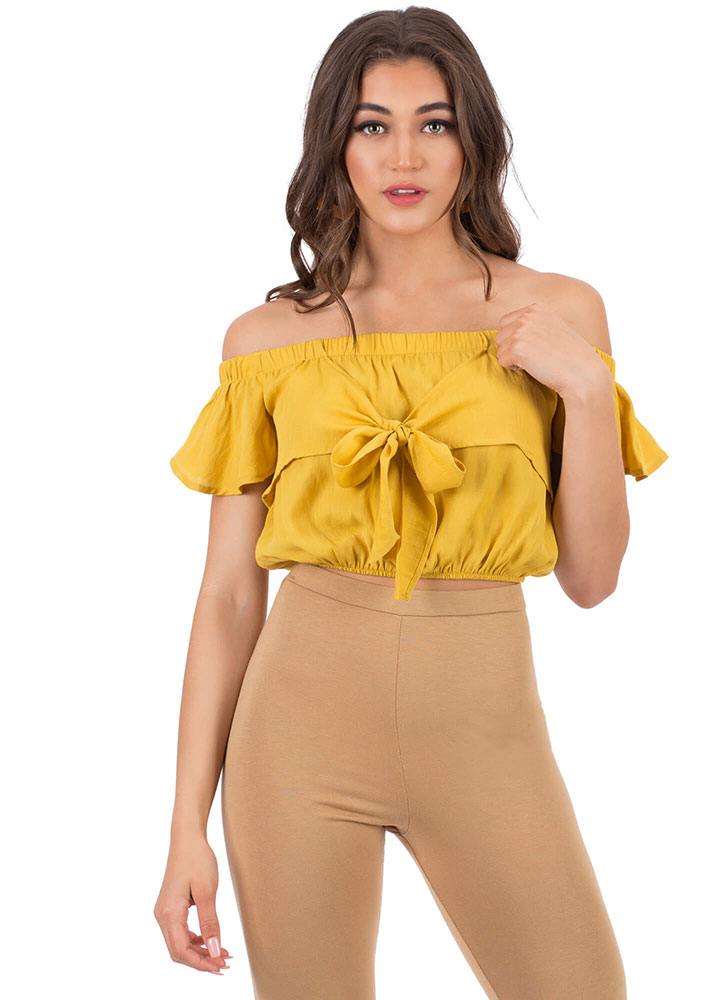 Flirt With Me Off-Shoulder Tie-Front Top MUSTARD (You Saved $8)