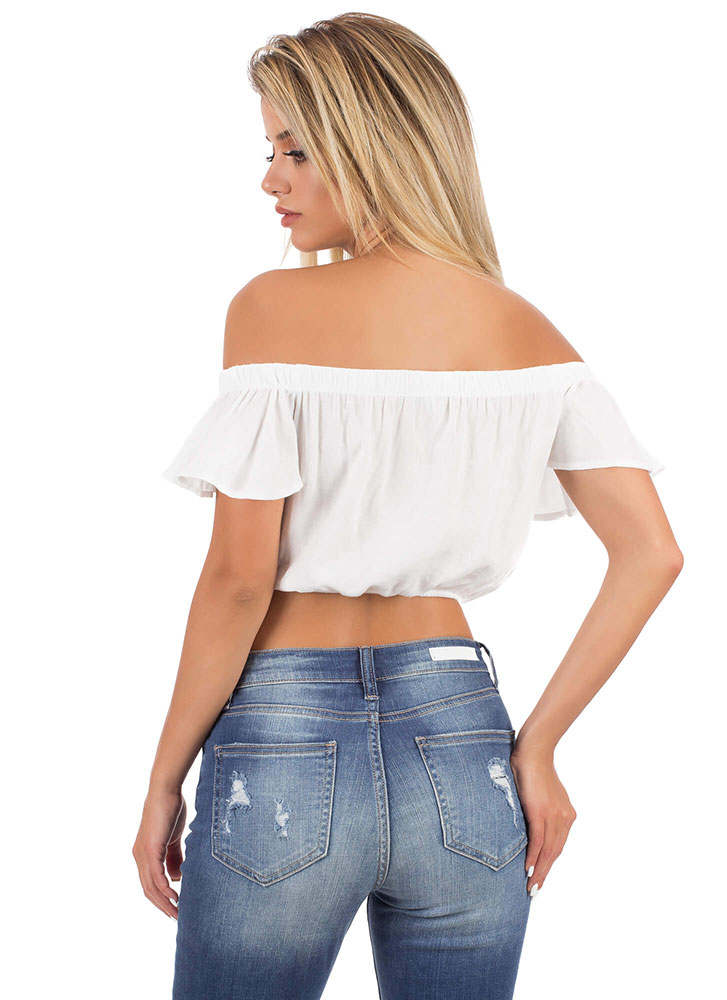 Flirt With Me Off-Shoulder Tie-Front Top WHITE