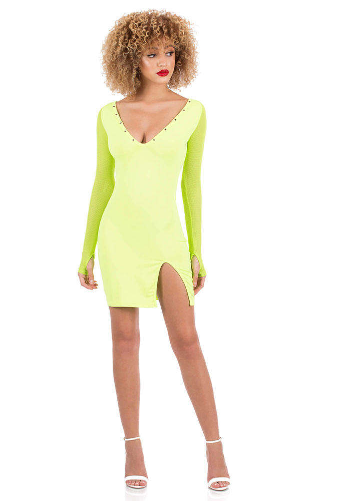 Edgy Touch Slit Mesh Sleeve Minidress LIME