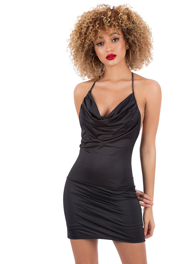 Hot Night T-Back Cowl-Neck Minidress BLACK