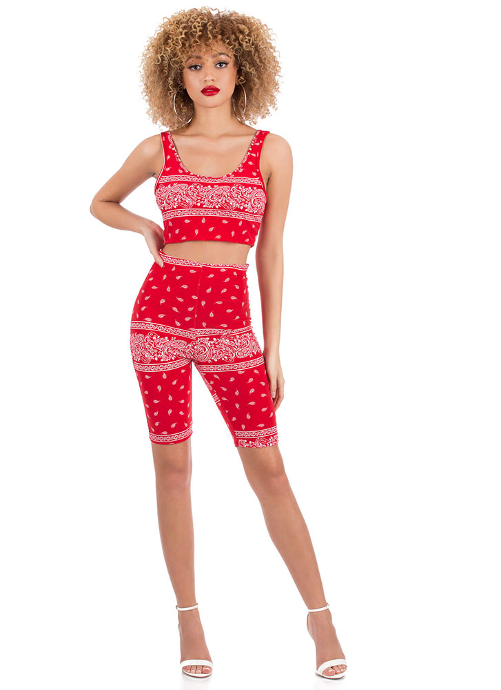 Bandana Baby Paisley Top And Shorts Set RED (You Saved $23)