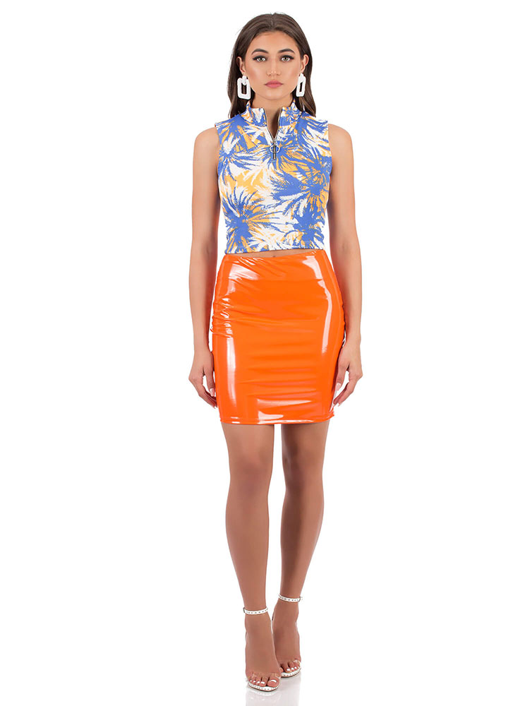 Palm Tree Sunday Zip-Front Crop Top BLUEMULTI