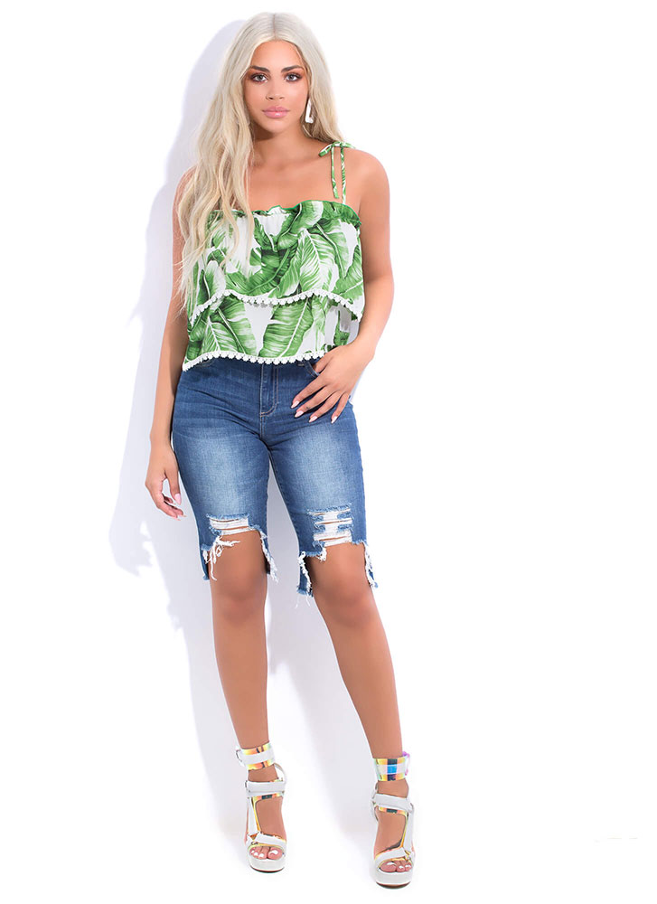 Leaf Love Tied Tiered Tropical Top GREENMULTI (You Saved $15)