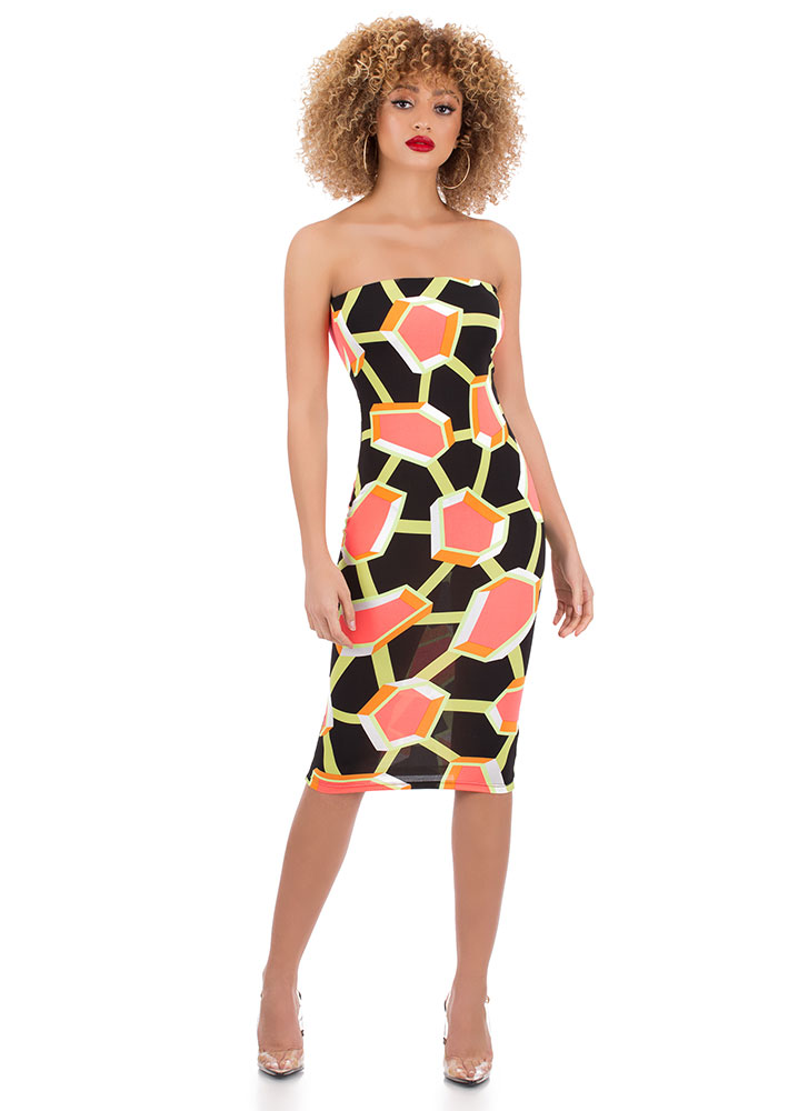 New Structure Abstract Print Tube Dress BLACKMULTI (Final Sale)