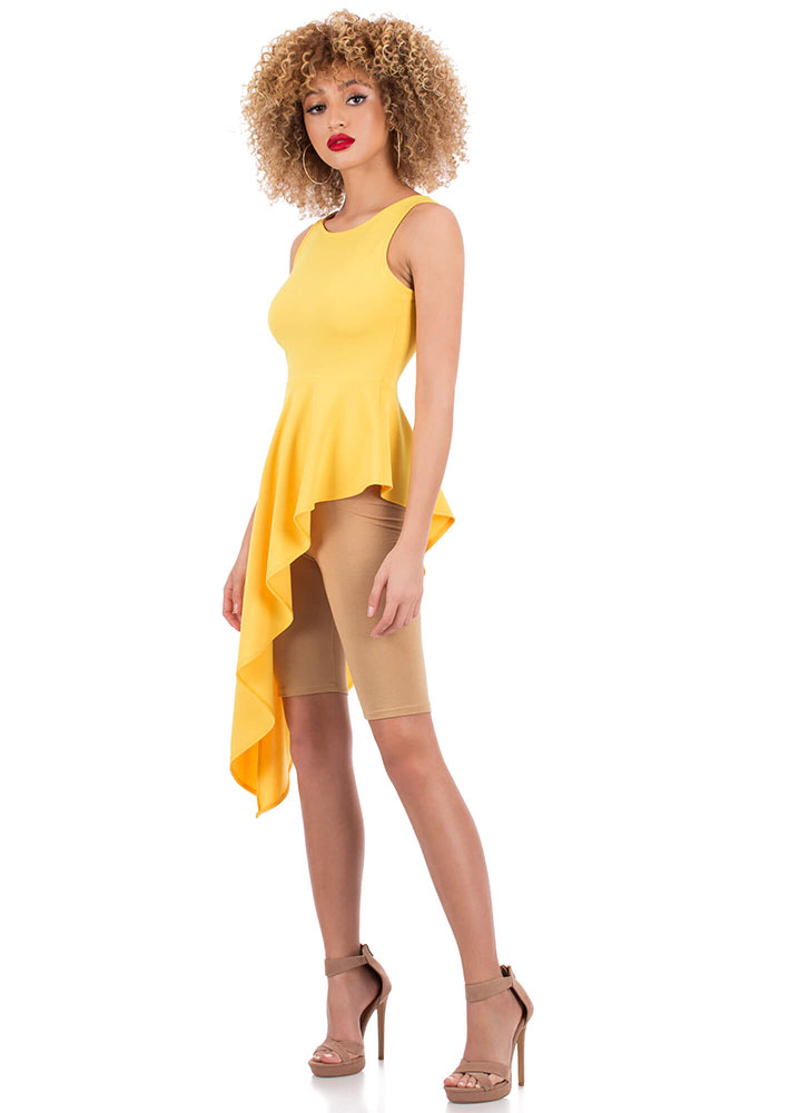 High-Low Can You Go Cascading Peplum Top YELLOW