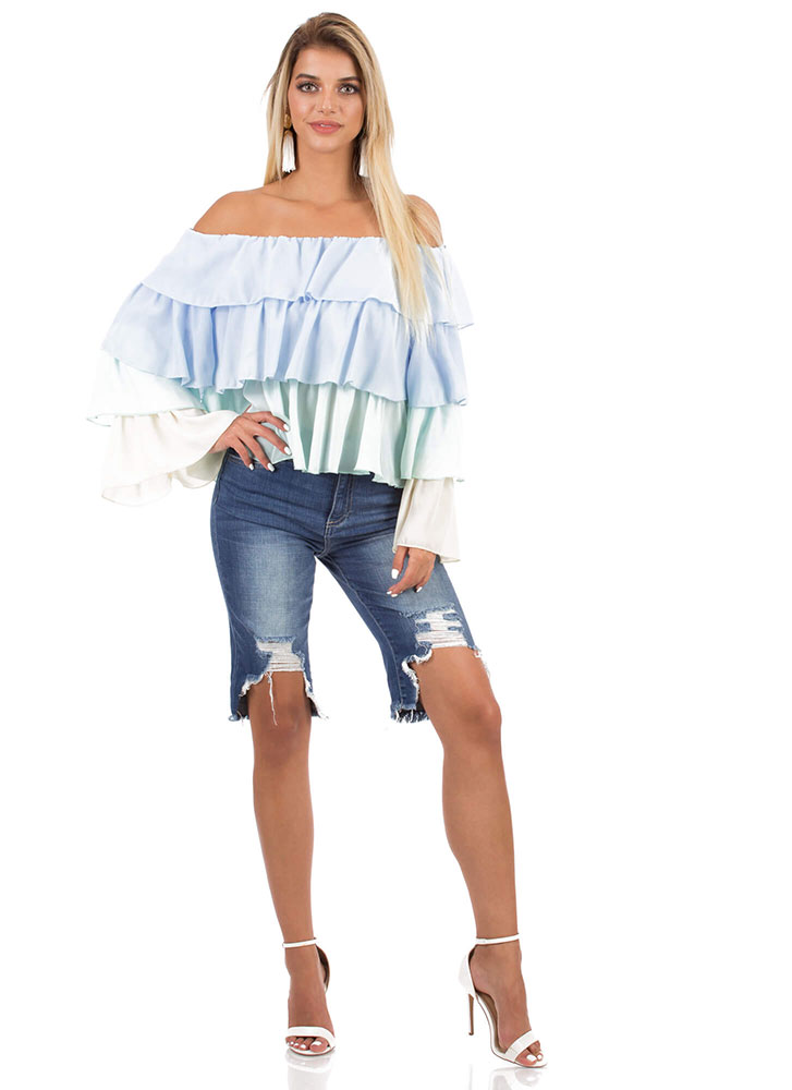 Frilly Fiesta Tiered Off-Shoulder Top BLUEMULTI