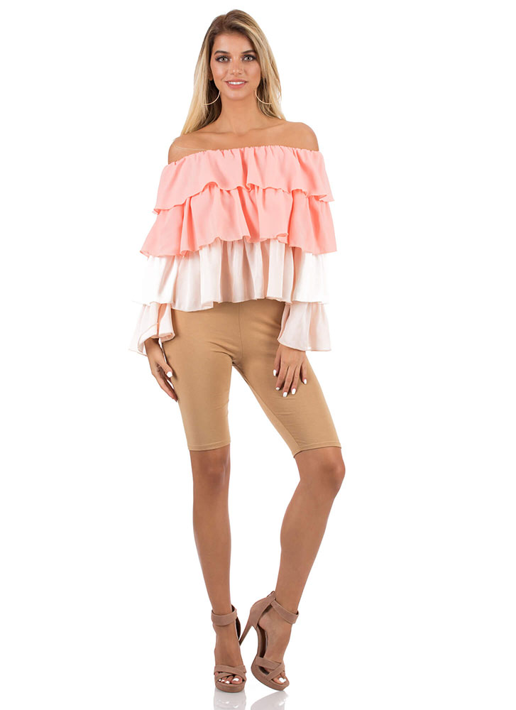 Frilly Fiesta Tiered Off-Shoulder Top PINKMULTI
