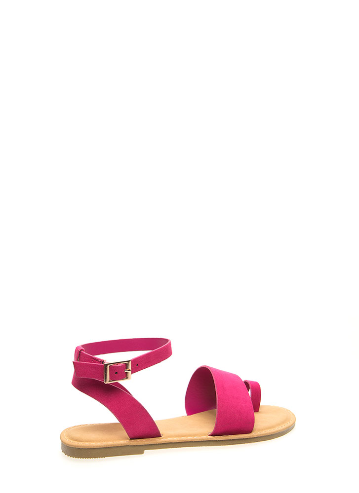 Toe In The Door Strappy Sandals FUCHSIA (You Saved $12)