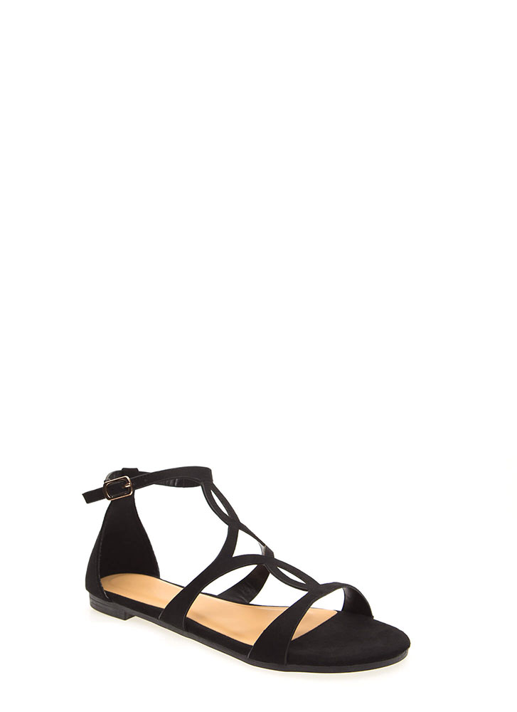 Splendid Faux Suede Cut-Out Sandals BLACK