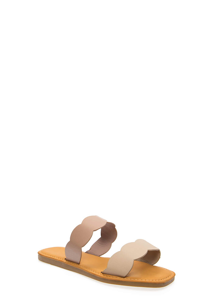 Oceanside Scalloped Slide Sandals BEIGEDKBLUSH