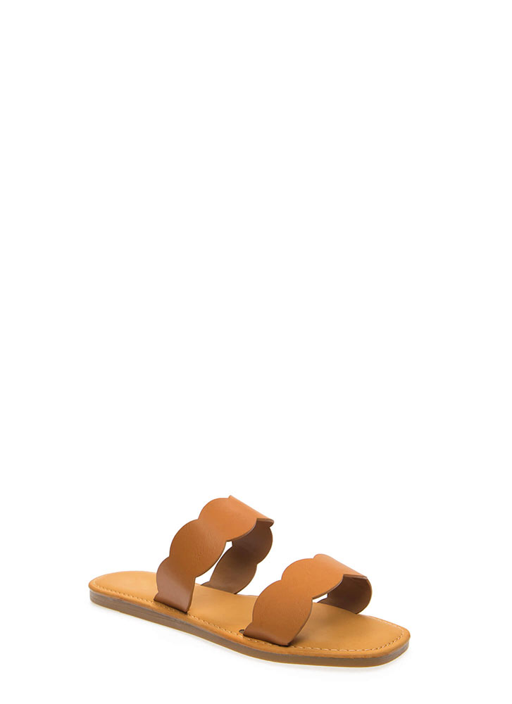 Seaside Scalloped Slide Sandals TAN (You Saved $11)