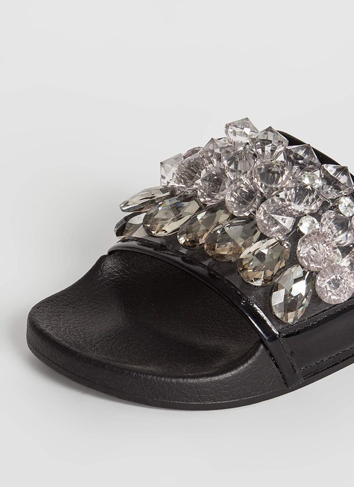 Clear As Crystal Jeweled Slide Sandals BLACK