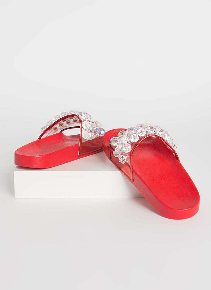 Clear As Crystal Jeweled Slide Sandals RED