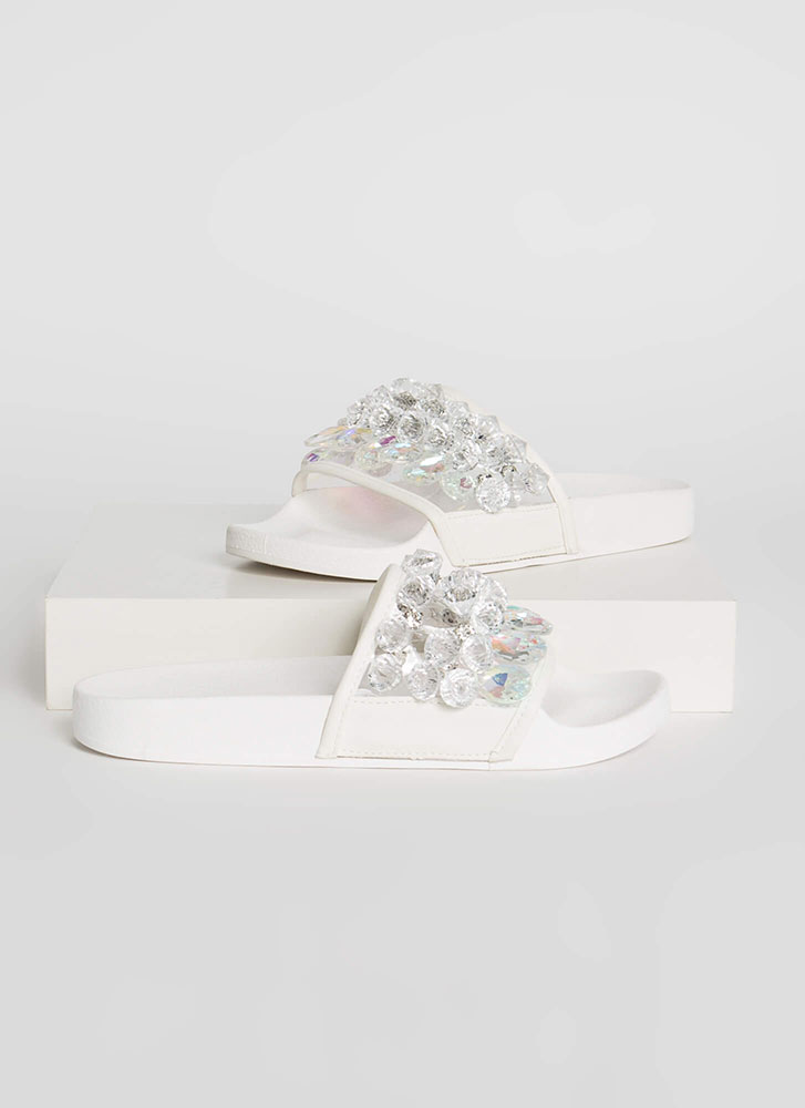 Clear As Crystal Jeweled Slide Sandals WHITE