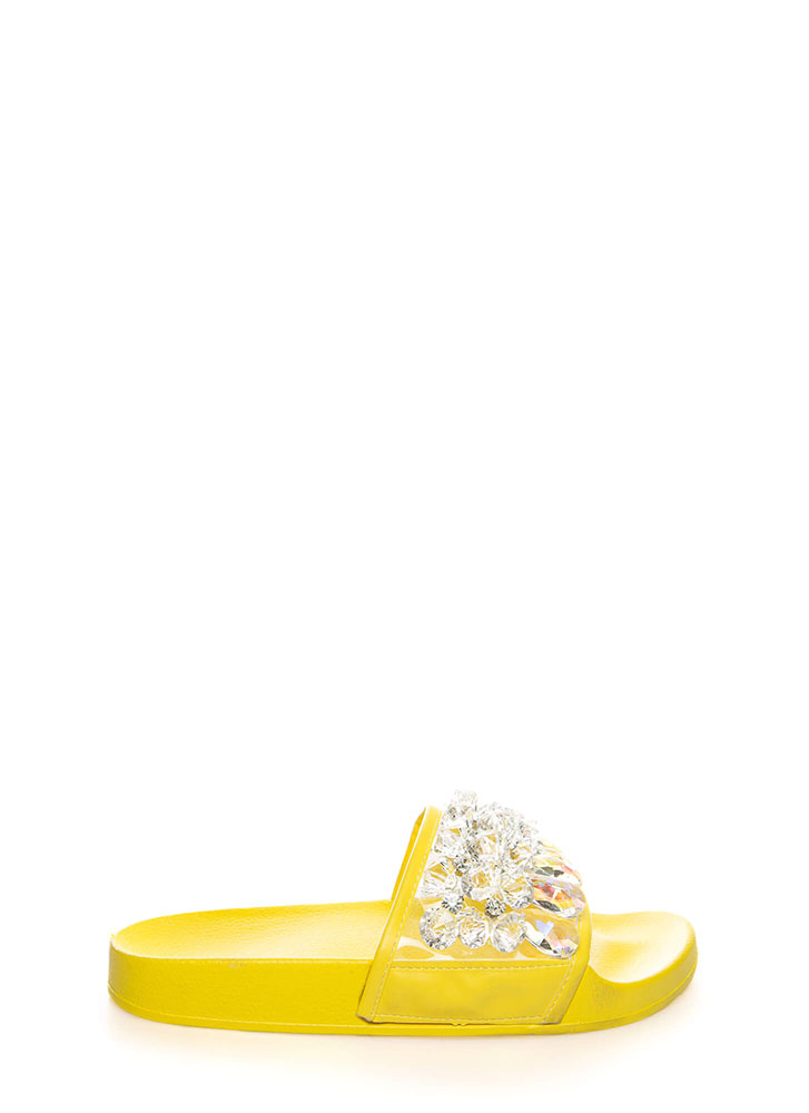 Clear As Crystal Jeweled Slide Sandals YELLOW (You Saved $15)