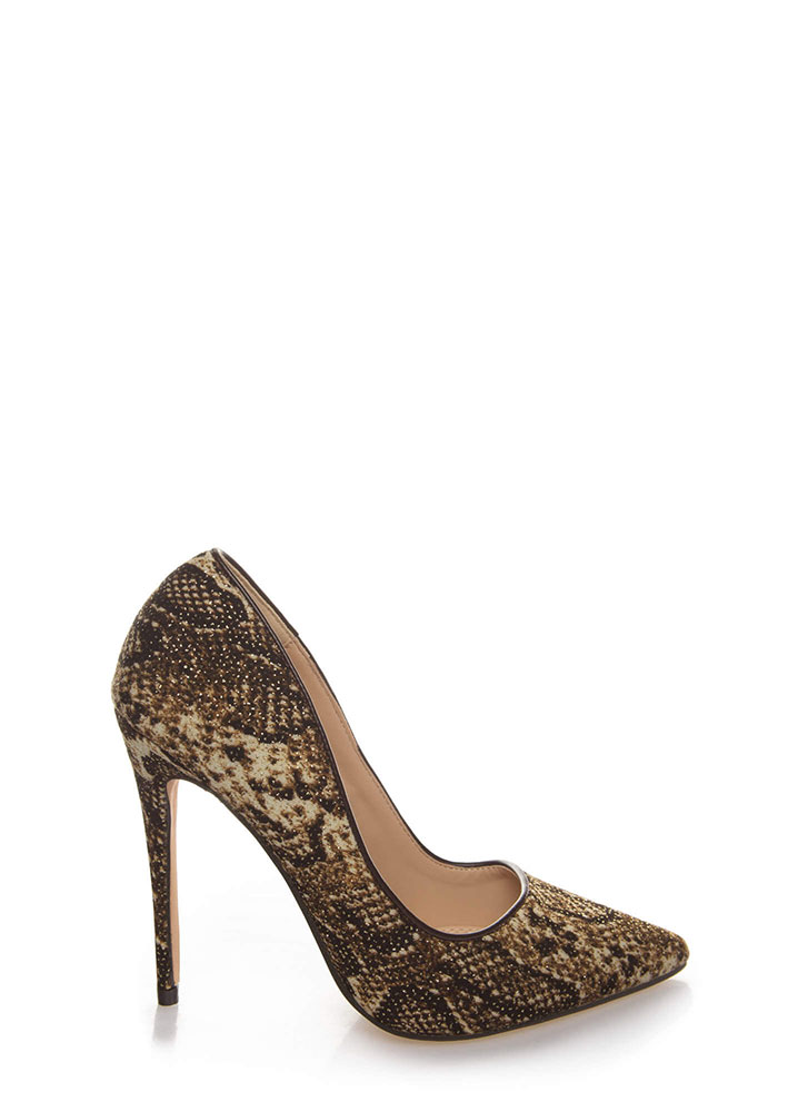 Wild Queendom Pointy Animal Print Pumps SNAKE