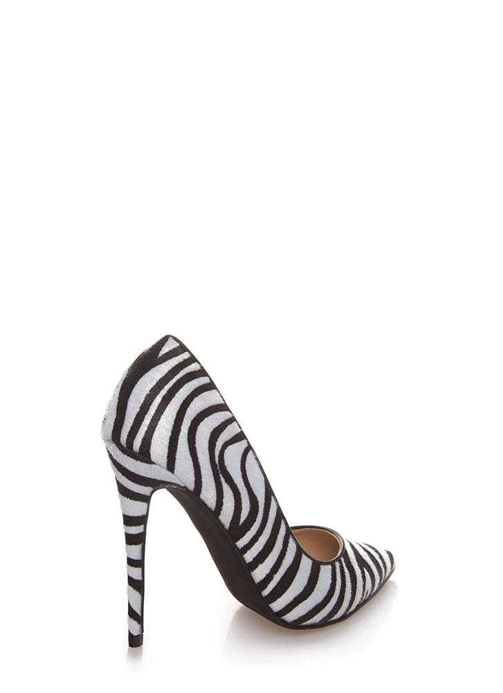 Wild Queendom Pointy Animal Print Pumps ZEBRA
