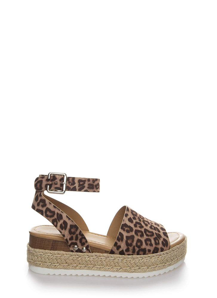 Vacation Time Leopard Wedge Sandals OATMEAL