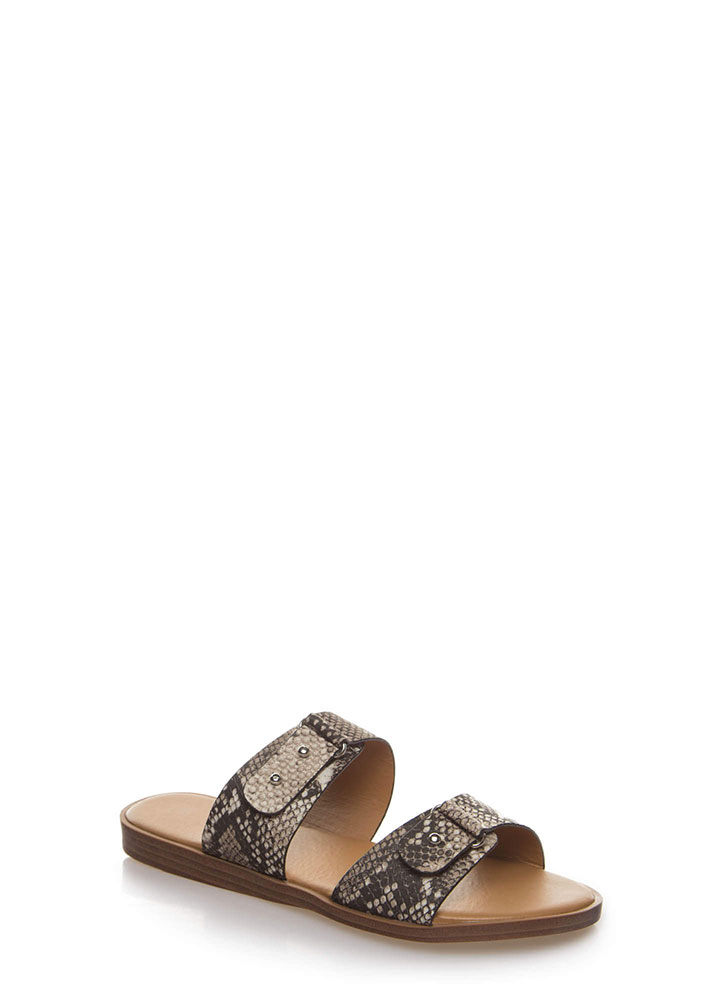 Push My Luck Faux Snake Slide Sandals BEIGEBROWN