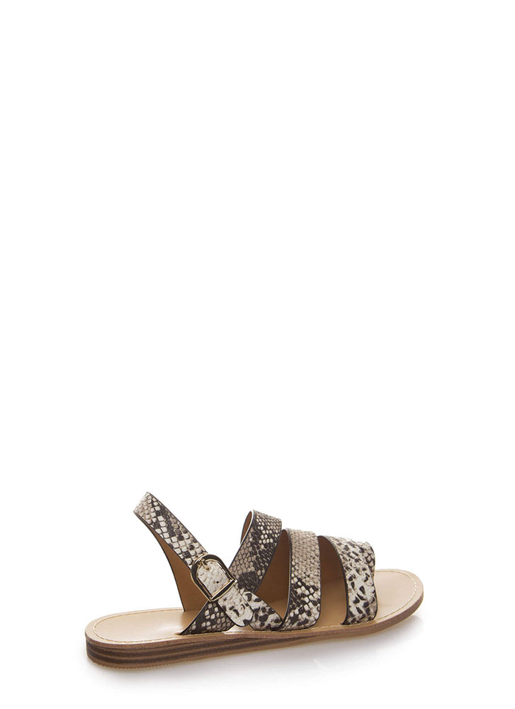Strappy Holiday Faux Snake Sandals BEIGEBROWN