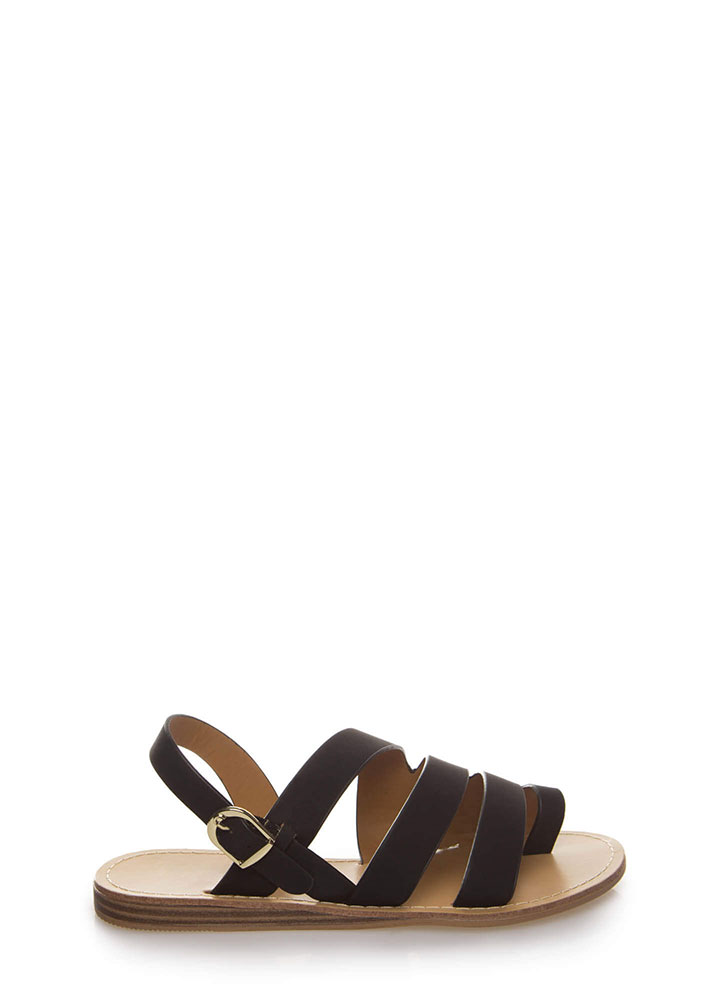 Strappy Holiday Faux Nubuck Sandals BLACK