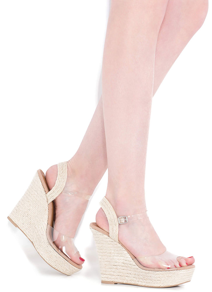 Clearly In Love Braided Platform Wedges CLEAR (Final Sale)