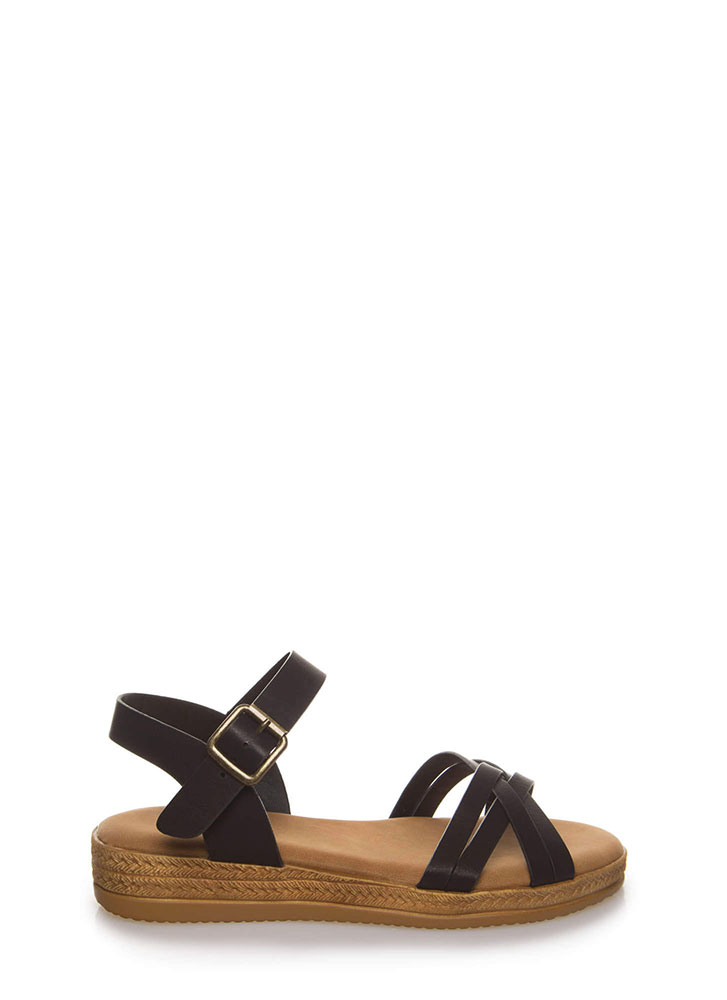 Strappy Vacation Faux Braided Sandals BLACK