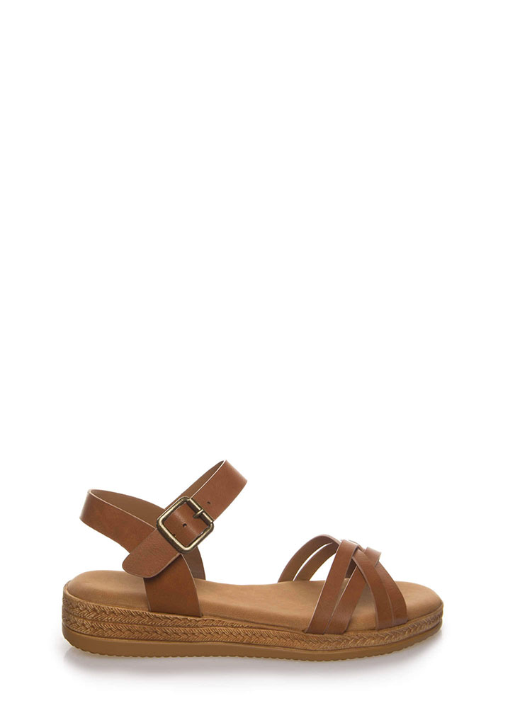 Strappy Vacation Faux Braided Sandals TAN