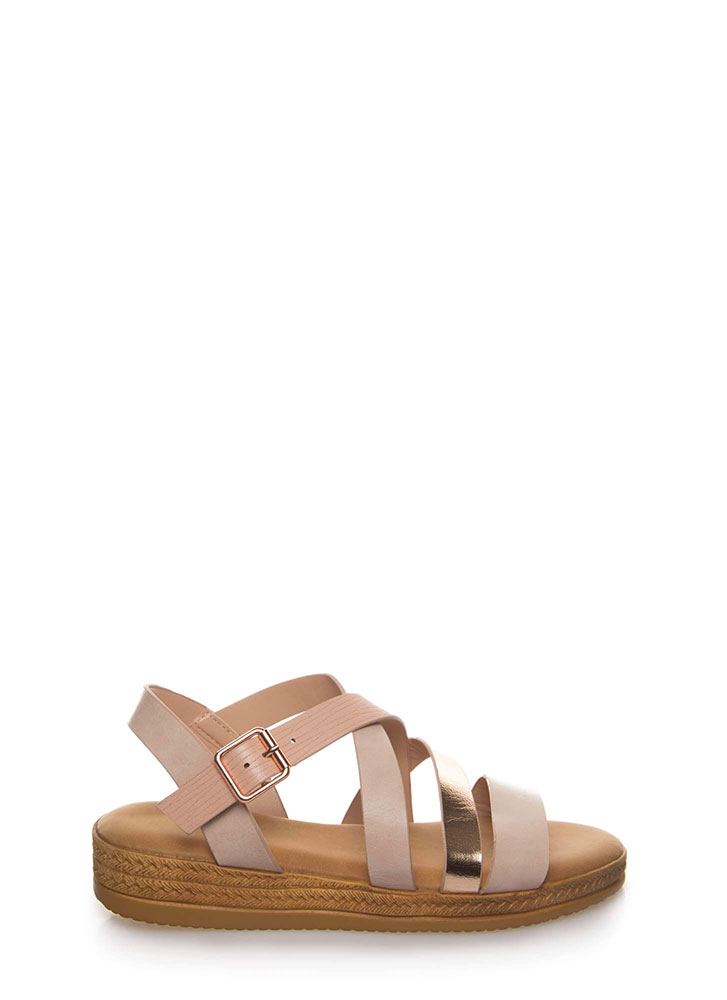 Strappy Times Faux Braided Sandals BLUSH