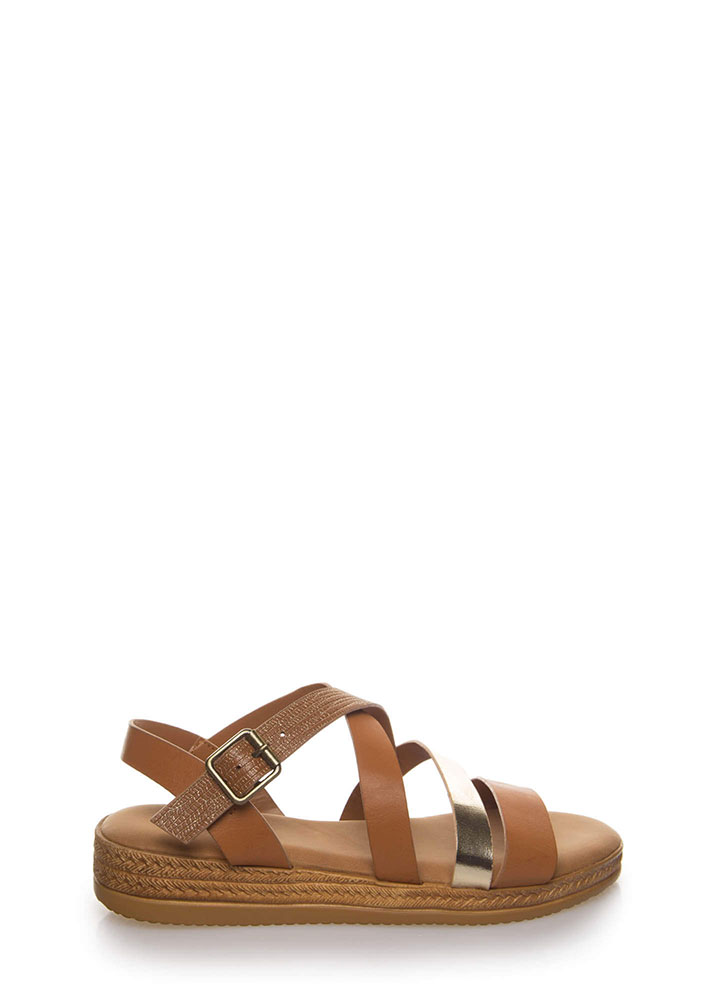 Strappy Times Faux Braided Sandals TAN (Final Sale)