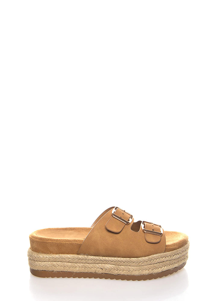 Oh High Faux Nubuck Platform Sandals TAN