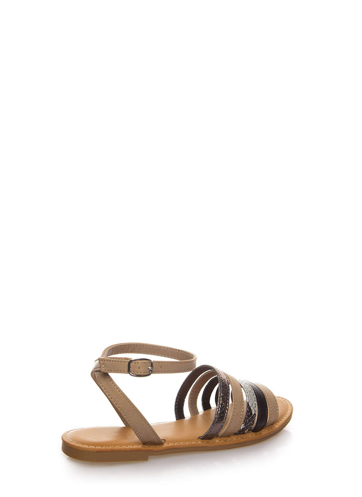 A Little Snake Multi-Strap Sandals TAUPE
