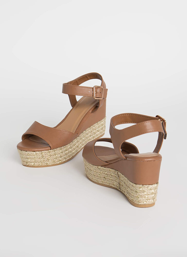 New Pattern Braided Chevron Wedges TAN